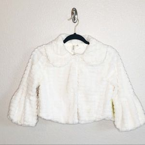 Ladies White Faux Fur Chest Coat Shawl Sz Small